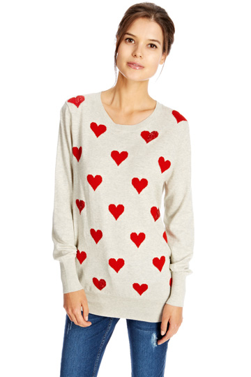 Oasis Heart Printed Jumper Sale Online i6emHb7K